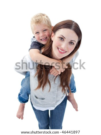 Close-up of brunette mother giving her son piggyback ride against a white background
