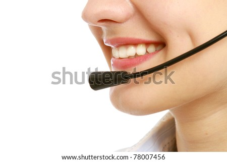 Close-up of business woman's lips with microphone