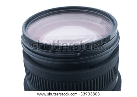 Close up of camera lens on white background