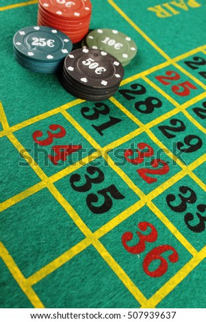 Close up of casino roulette table. background