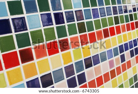 Close-up of colored tiles.