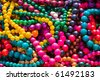 Close up of colorful necklace pil - stock photo