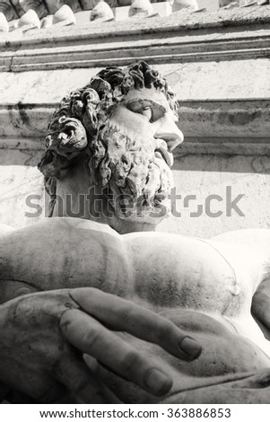Close-up of Colossal marble statue representing the river Nile in Piazza del Campidoglio, Rome Italy