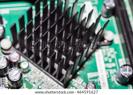 Close up of computer heat sink.