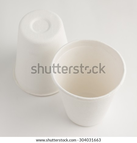 close up of disposable white paper cup