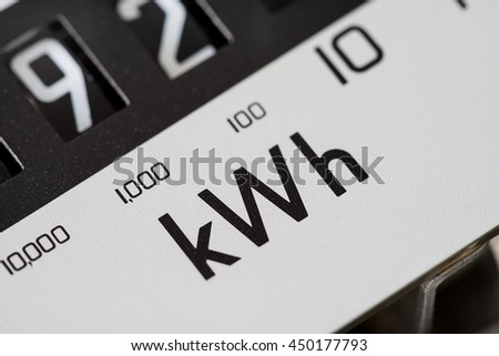 Close-up of electricity kilowatt meter.