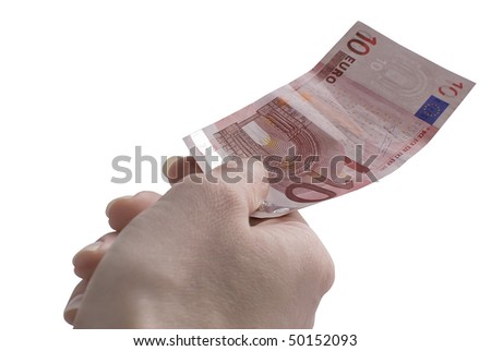 Close-up of 10 Euro banknote in woman's hand isolated on white background