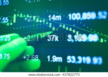 Close up of finance business graph which including of Up trend and Down trend.