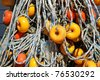 Close-up of fishing net and floats background - stock photo