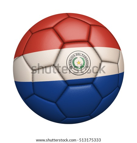 Close-up of flag football / soccer ball of Paraguay isolated on white (High-resolution 3D CG rendering illustration)
