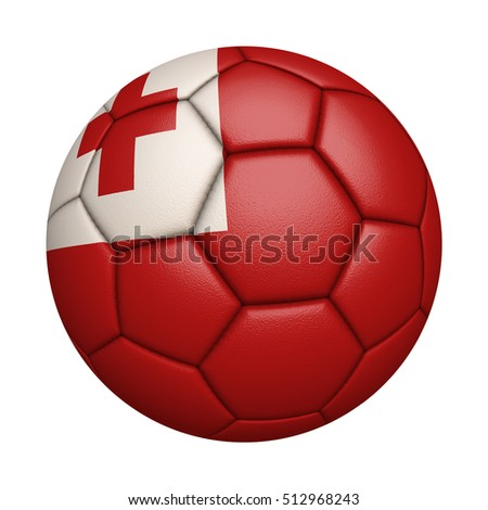 Close-up of flag football / soccer ball of Tonga  isolated on white (High-resolution 3D CG rendering illustration)
