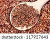 close up of flax seeds and  wooden spoon food background - stock photo