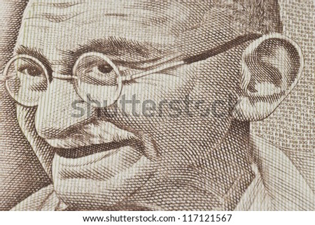 Close-up of Gandhi on an Indian paper currency