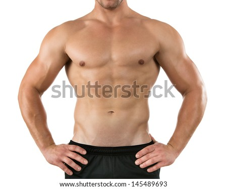 Close up of healthy young athlete isolated on white background