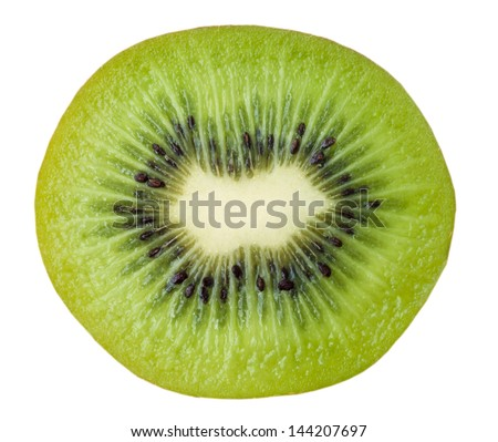 close up of kiwi fruit isolated on white background