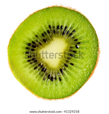 Close up of kiwi slice isolated over white background