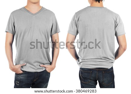Close up of man in front and back light grey shirt on white background.