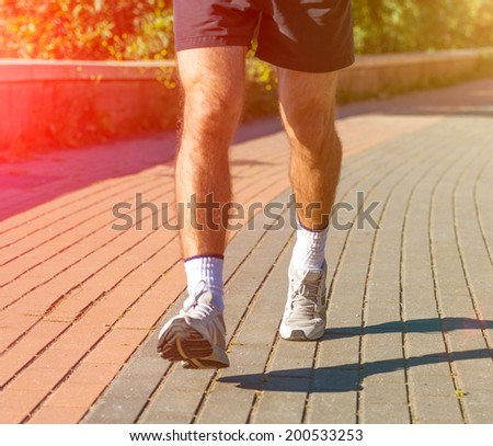 close-up of men's sneakers running athlete
