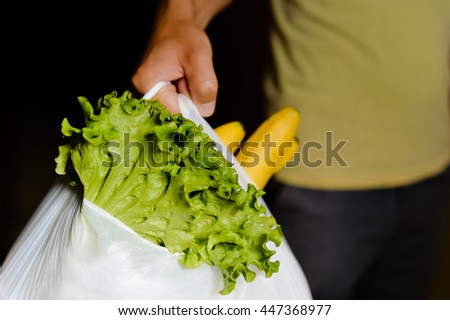Close up of person hold shopping bag in hand