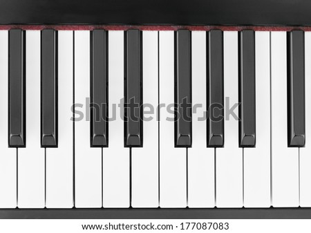 close-up of piano keys, close frontal view