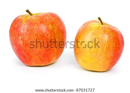 Close up of red apple slice isolated on white background