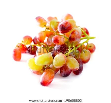 close-up of red grapes isolated on white background, selective focus.