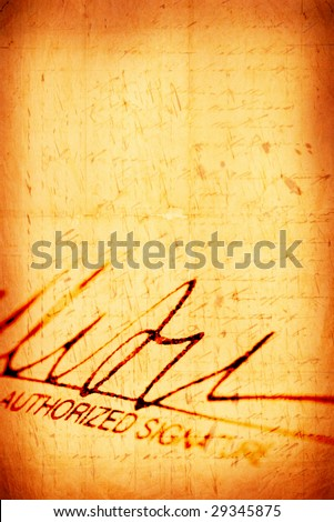 Close up of Signature with document