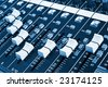 Close-up of sound mixer console faders. Macro background 02 - stock photo