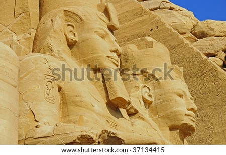 Close-Up of the Abu Simbel monument showinp statue of Rameses II in Egypt