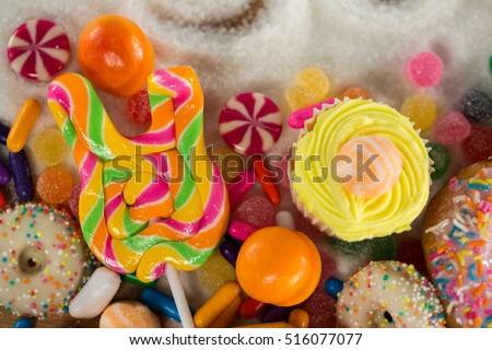 Close-up of various confectionery on table