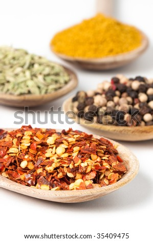 Close up of various culinary spices on rustic wooden spoons