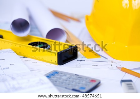 Close-up of various tools for construction and architecture