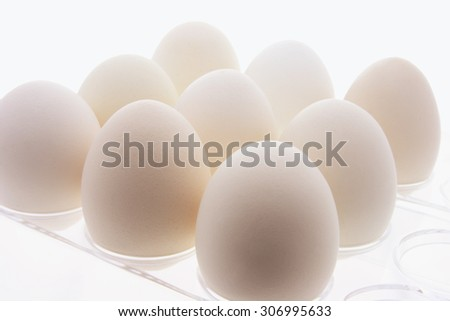 Close Up of White Eggs on Plastic Egg Carton