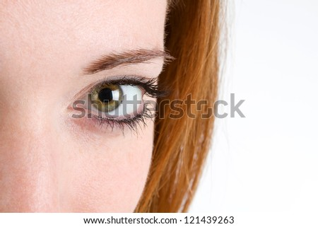 Close up of woman's eye with makeup.