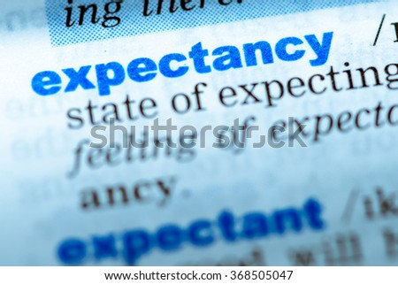Wonderful Close Up Of Word In English Dictionary. Expectancy, Definition And  Transcription