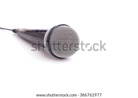 Close up old microphone isolated on white background