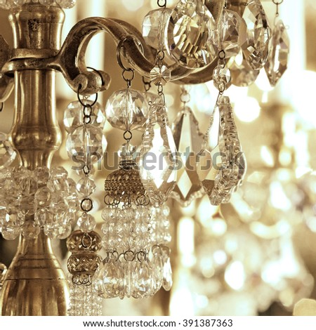 Close up on crystal of contemporary chandelier