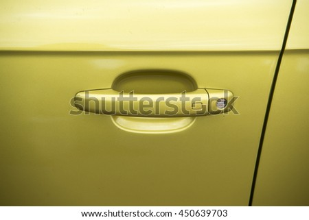 close up on sport car door handle