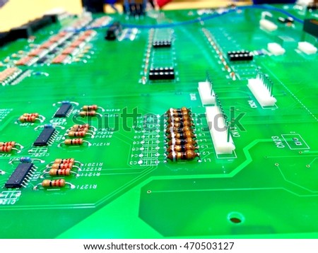 Close up PCB mother unit board.