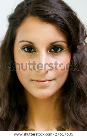 Close-up portrait of a beautiful brunette woman.