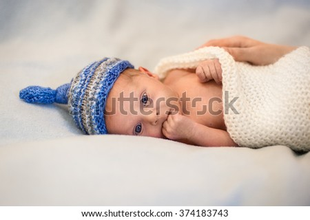close up portrait of a newborn baby boy