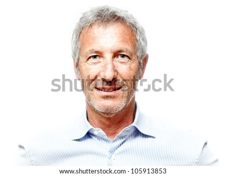 close up portrait of an elegant senior man blue eyed and with grey hair isolated on white background