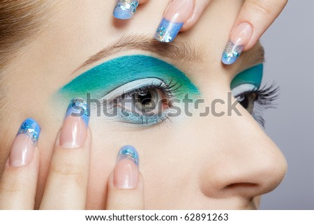 close-up portrait of girl's eye-zone make up