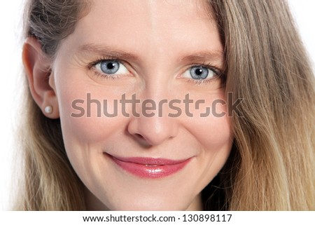 Close up portrait of happy mid age woman face