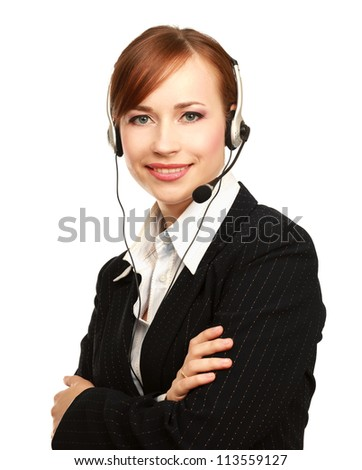 Close-up portrait of smiling young woman with headset isolated on white background