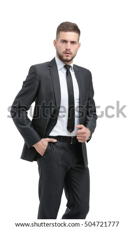 Close up portrait of successful thoughtful business man on white