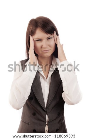 Close up Portrait of woman with headache, isolated