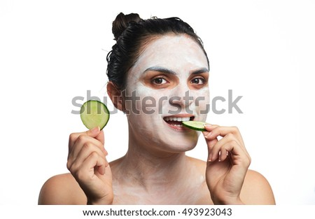 close up portrait of young girl with face mask isolated on white