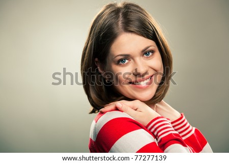 Portrait Smiling Woman Sitting On Sofa Stock Photo 93355156 Shutterstock