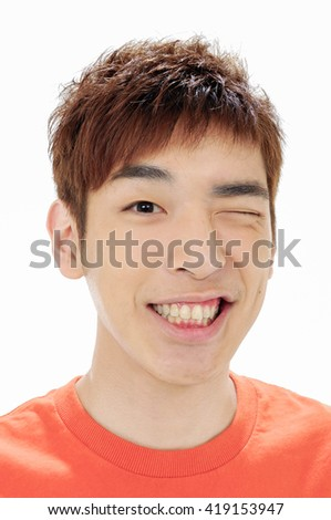 Close up portrait of --young smile man